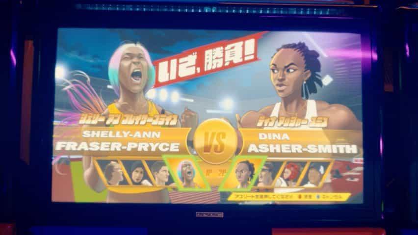 Escena de video arcade con un juego estilo Street Fighter que incluye a Dina Asher-Smith y Shelly-Ann Fraser-Pryce en el tráiler de la BBC para los Juegos Olímpicos de Tokio 2020 producido por Factory Fifteen y Nexus Studios