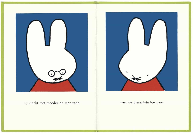 Dick Bruna: Nijntje in de Dierentuin (Miffy en el zoológico), 1955, formato rectangular que muestra imágenes sobre las dos páginas con texto debajo (ilustraciones de Dick Bruna Copyright © Mercis bv, 1953-2020)