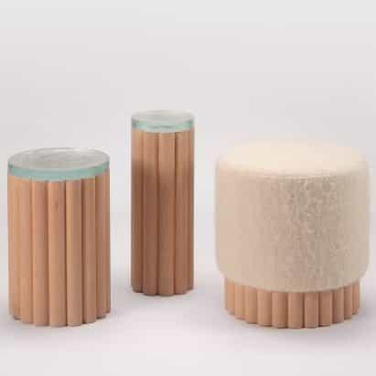 Peca crea muebles cilíndrico con espigas de madera de haya
