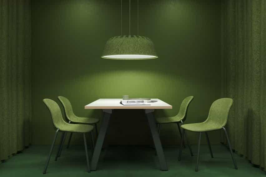 Lámpara acústica de fieltro PET Fost verde