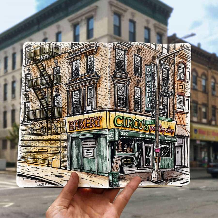 Ilustraciones de cuadernos de bocetos de viajes