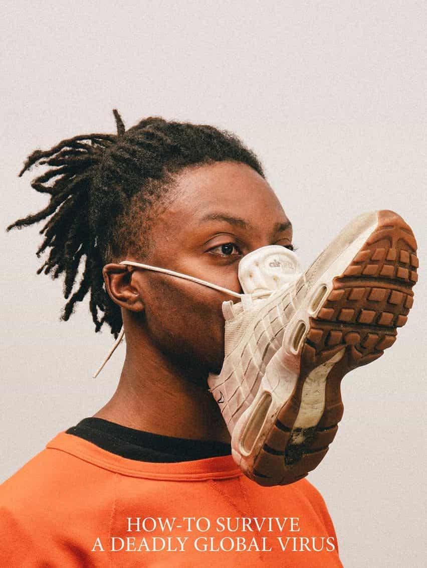Alternativa Coronavirus máscaras de Max Siedentopf con la zapatilla de deporte