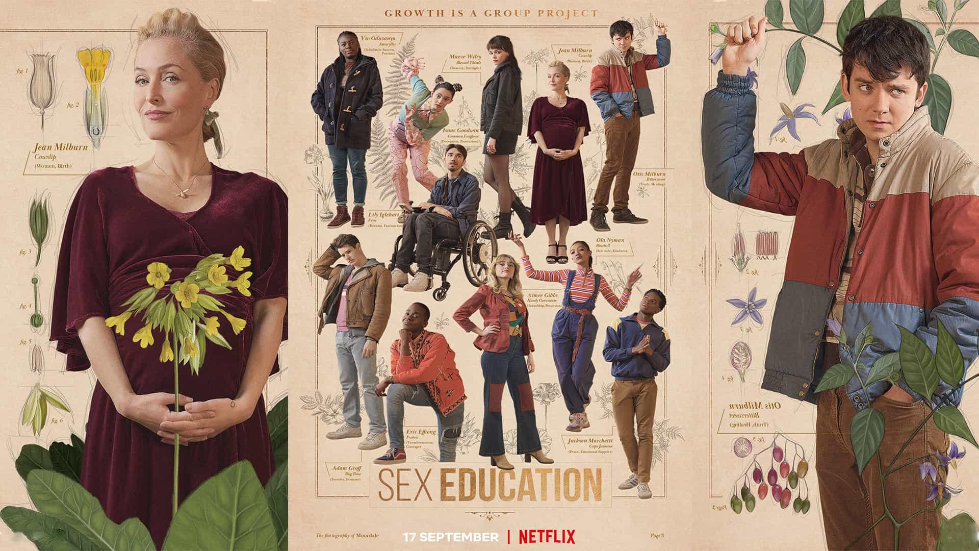 Los fanáticos se vuelven locos por los carteles de la serie 3 de educación sexual de Netflix