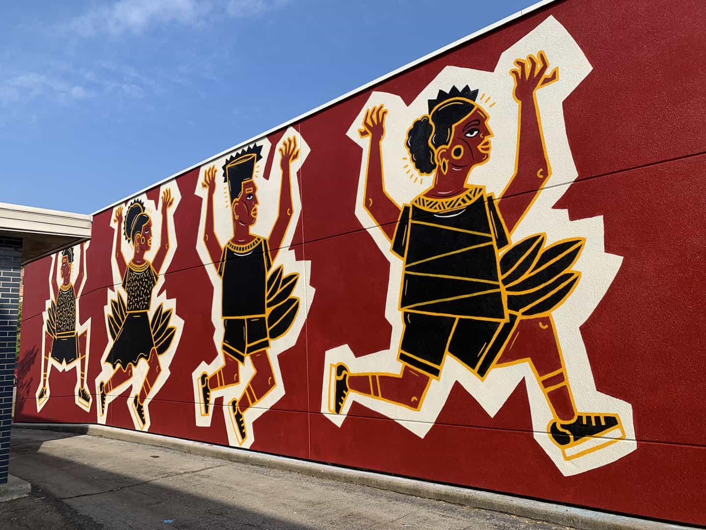 Las paredes brillantes Festival Mural, Michigan