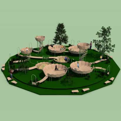 """Rimbin es un concepto parque infantil """"libre de infección"""", diseñado para parecerse a los lirios de agua"""