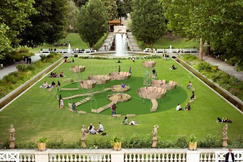 """Rimbin es un concepto parque infantil """"libre de infección"""", inspirada en los lirios de agua"""