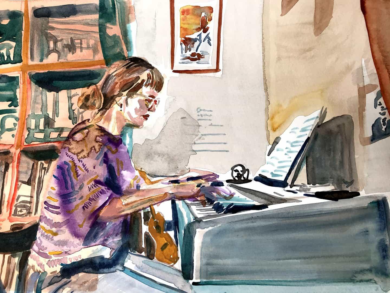 """Oliver Macdonald Oulds pinta músicos en las llamadas de vídeo, creando un momento en que ambos puedan """"pausa"""""""