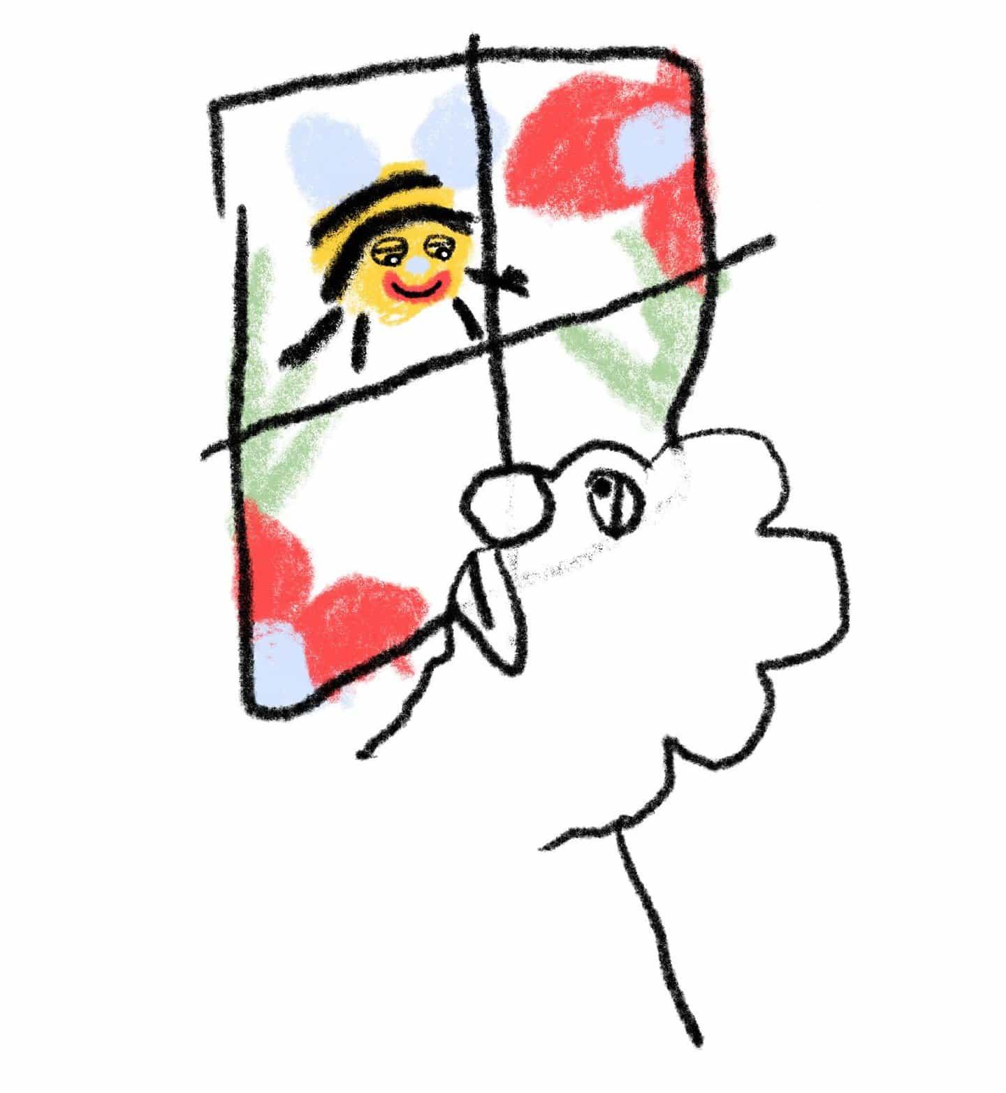 Reír en voz alta con caracteres blobby de Ollie Hudson y abejas con aire satisfecho de aspecto