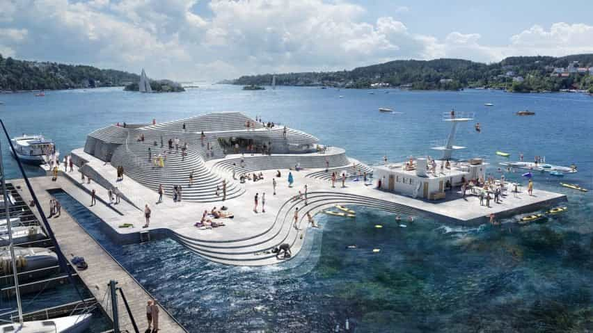 Baño del puerto de Knubben rediseñado por Snohetta