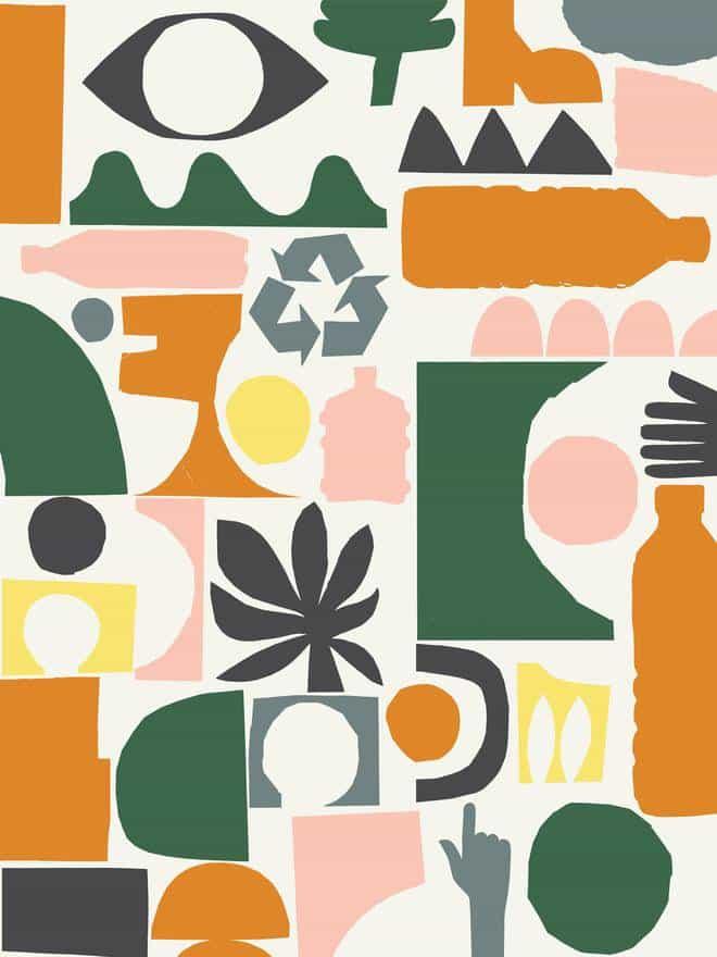 Los iconos gráficos cortados en papel del Centro de Control de Neasden para Millican simbolizan los residuos terrestres, marítimos y urbanos