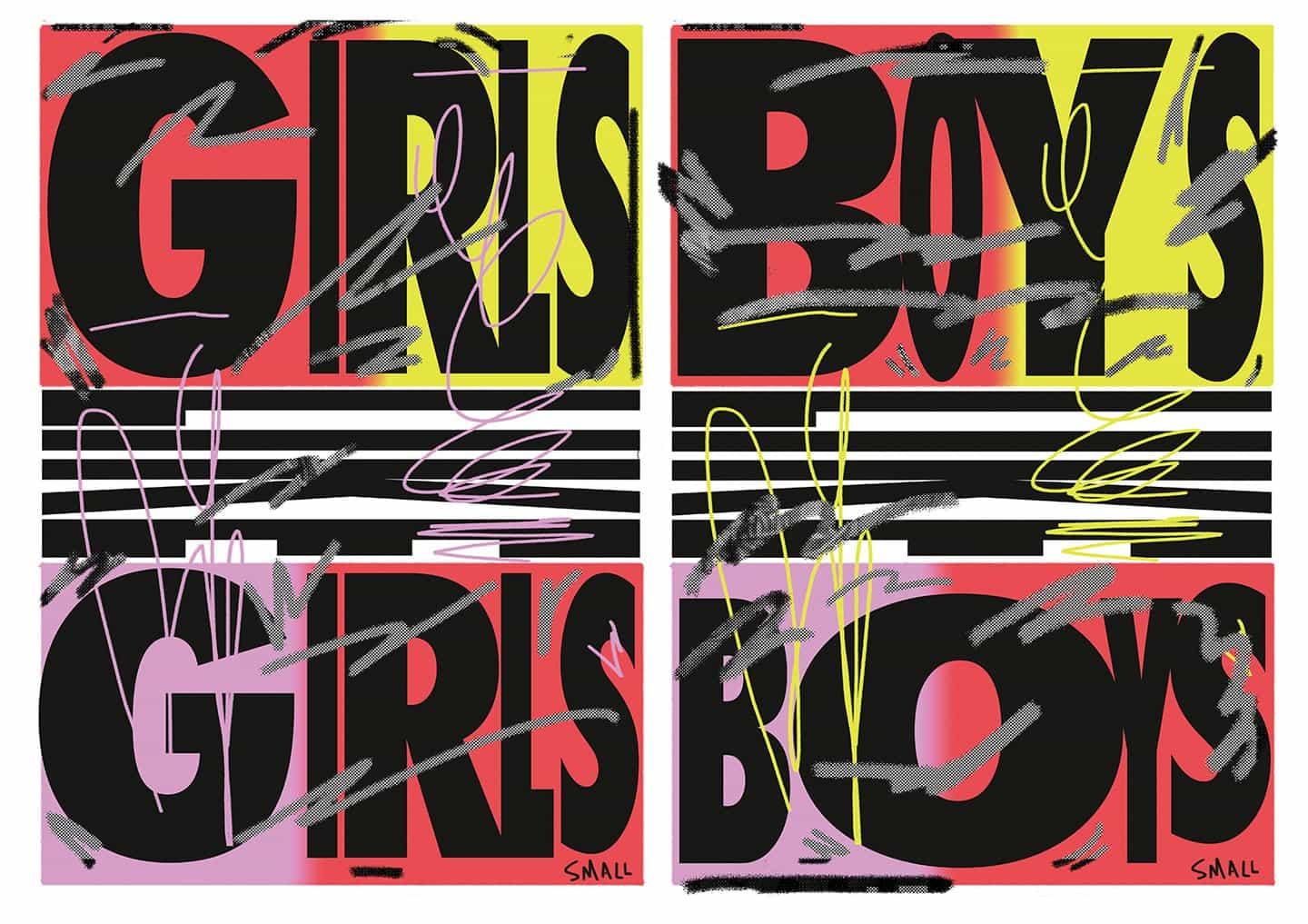 Ejemplos del trabajo de Kris hasta la fecha: Girls Like Girls / Boys Like Boys, 2019 (Copyright © Kris Andrew Small, 2019)