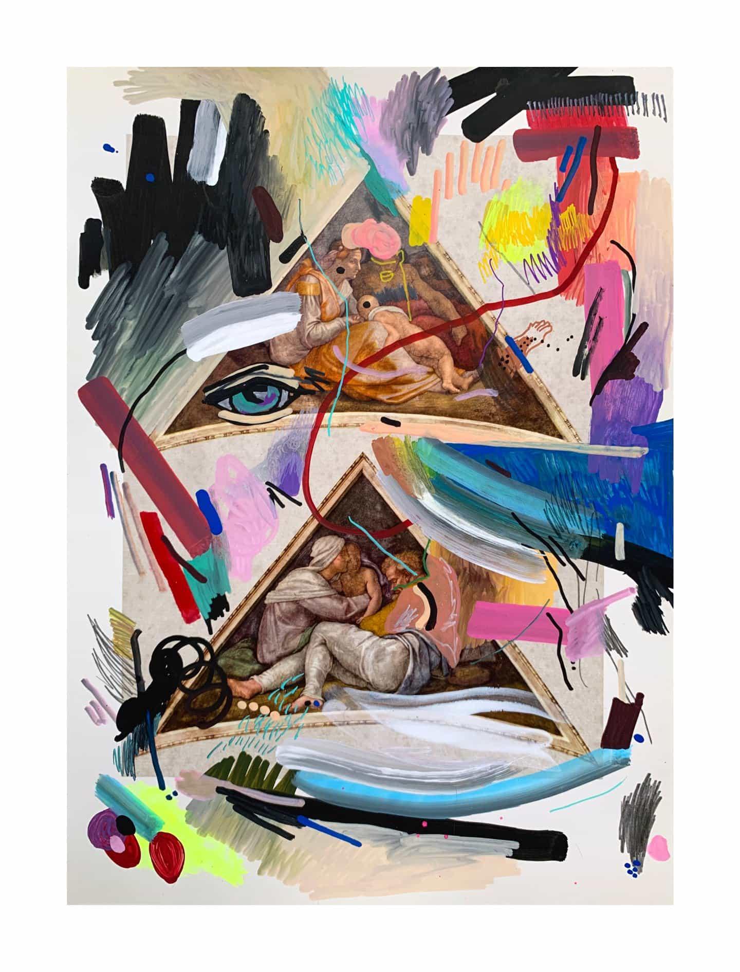 Brian Kenny: Eye Feel You, técnica mixta sobre papel encontrado, 13 3⁄4 x 10 pulgadas Copyright © Brian Kenny, 2021)
