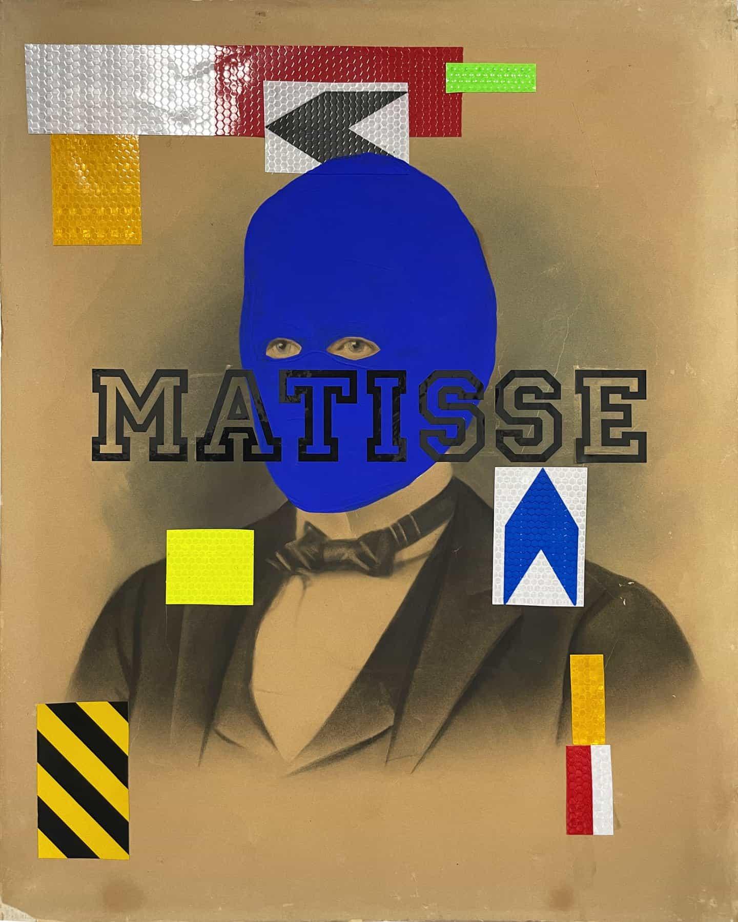 Brian Kenny: Mr. Matisse, cinta reflectante, calcomanía de vinilo y acrílico sobre litografía tintada antigua sobre lienzo. 20 x 16 pulgadas (Copyright © Brian Kenny, 2021)
