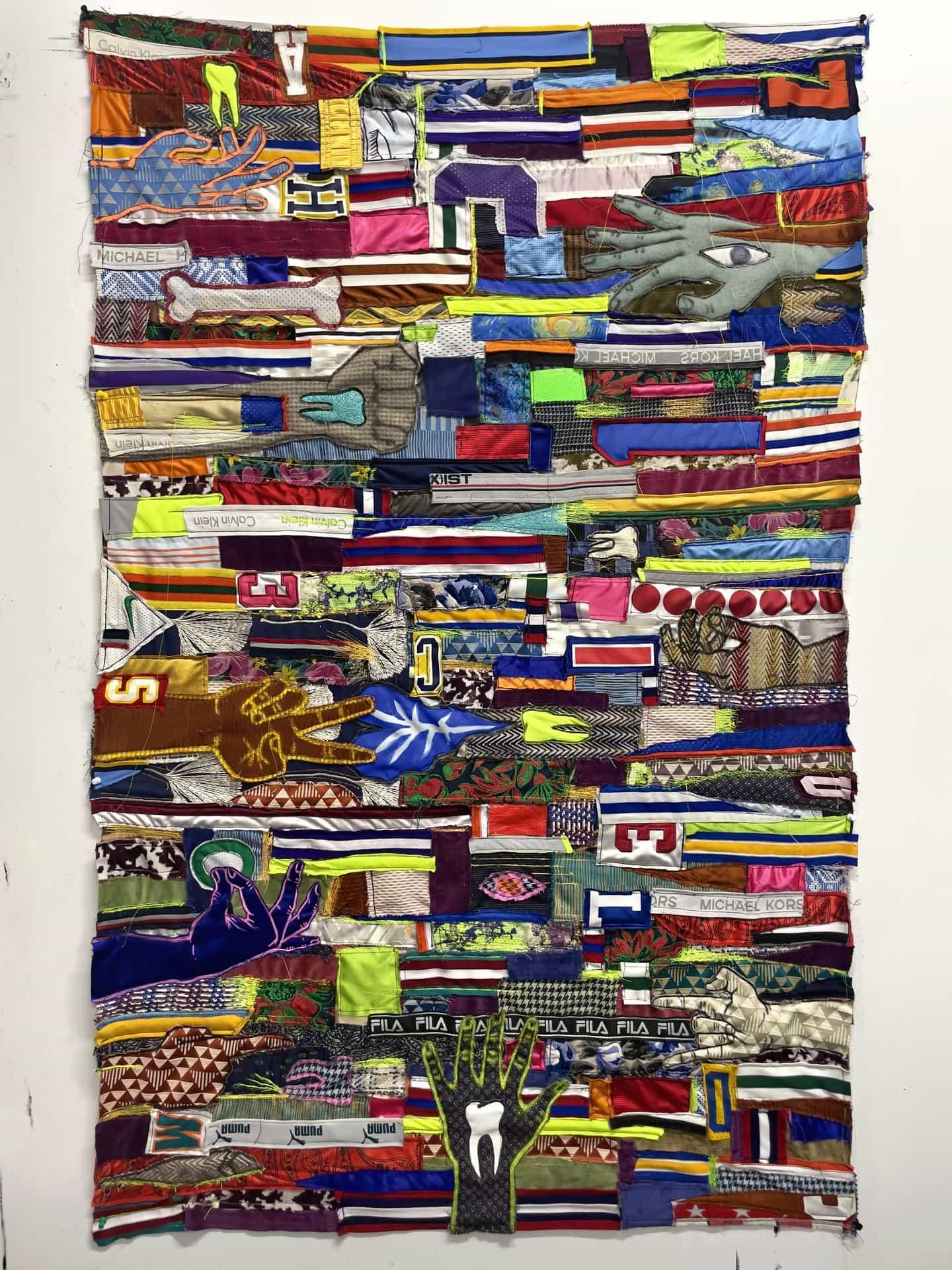 Brian Kenny: En conjunto, pancarta de medios mixtos, 59 x 37 1/4 pulgadas (Copyright © Brian Kenny, 2021)