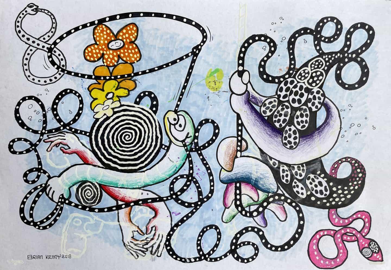 Brian Kenny: Snake Oil, 2018, firmado y fechado en el anverso, técnica mixta sobre papel de libro para colorear, 12 1/2 x 19 pulgadas (Copyright © Brian Kenny, 2021)