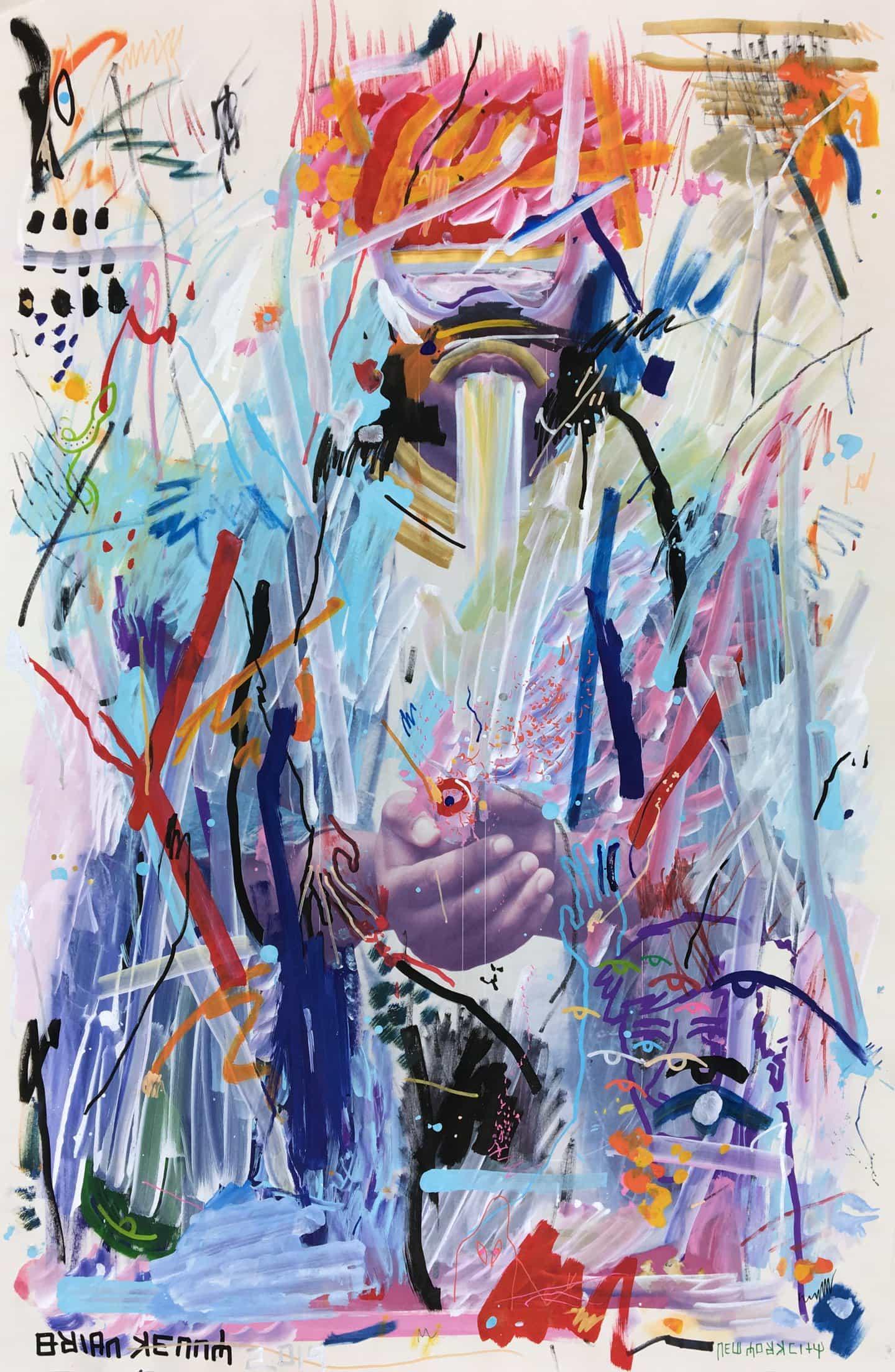 Brian Kenny: Holding Space, firmado y fechado en el anverso, tinta y acrílico sobre papel de tiro vintage, 34 x 22 1/2 pulgadas (Copyright © Brian Kenny, 2019)