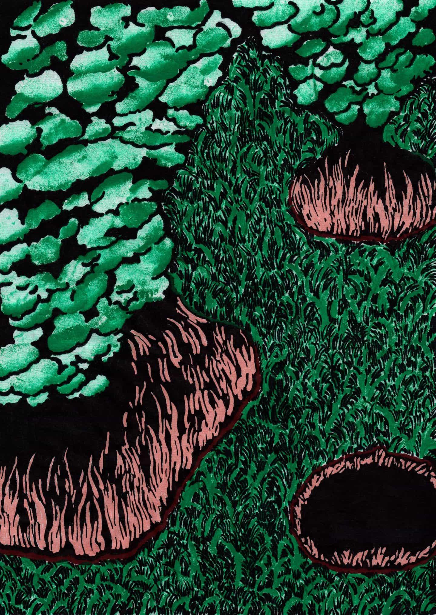 Metamórficas y fascinante, Sujin Lee pinta el tema más común de todos: la hierba