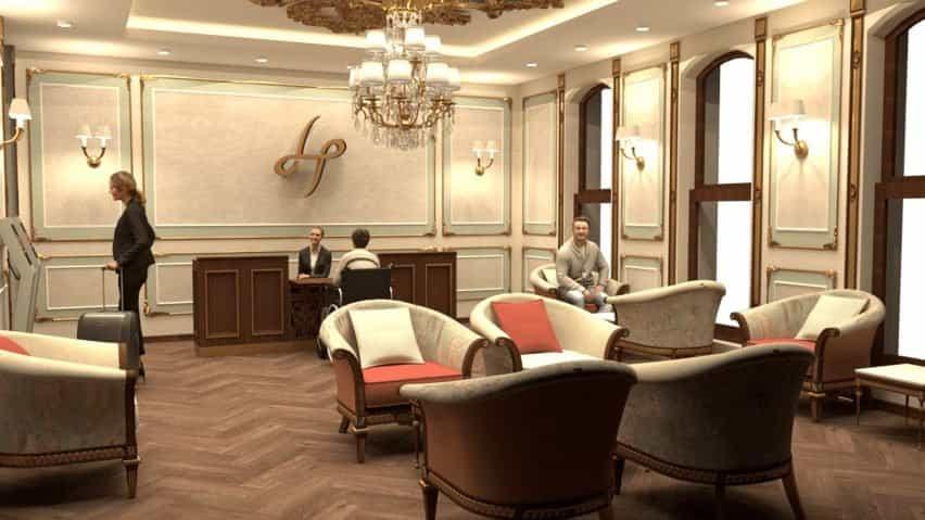 Un hotel construido en un edificio victoriano. Tiene un diseño tradicional con paredes y asientos color crema.