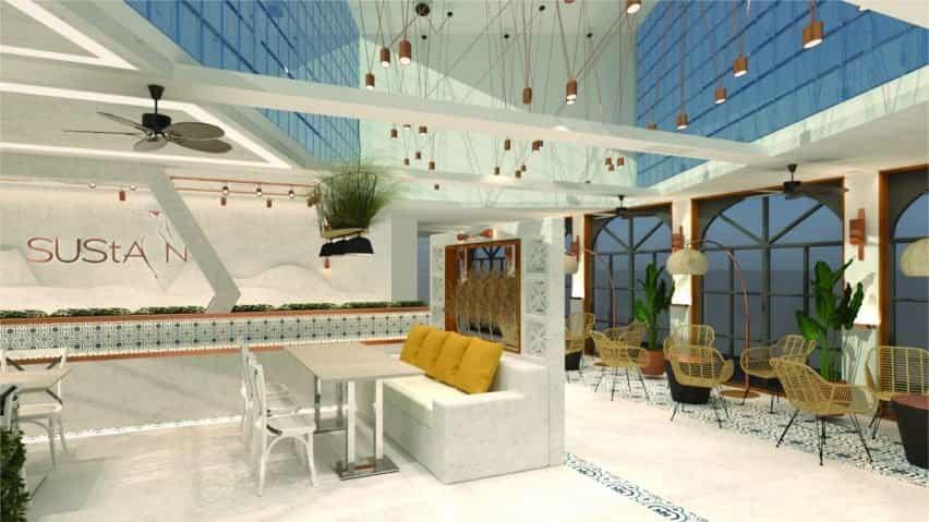 Un concepto para un restaurante sostenible con productos de bambú