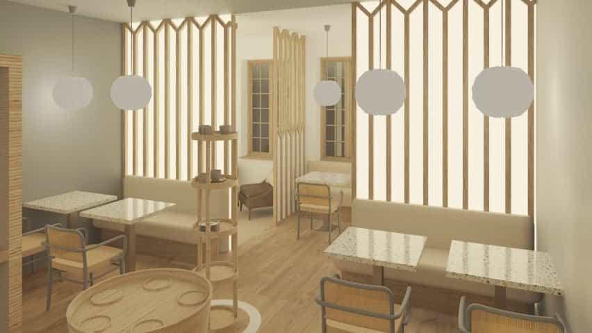 Una cafetería que utiliza productos de madera clara.