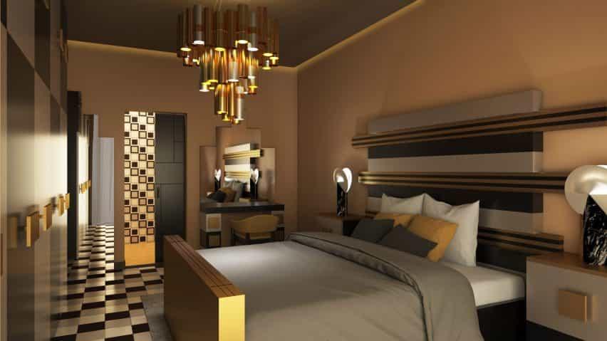 Un dormitorio con estética dorada y gris