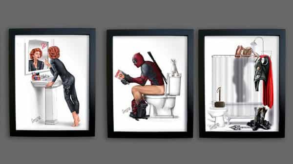 Serie de la ilustración representa hábitos de baño superhéroes - y del genio