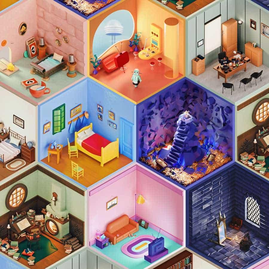 Un buen amigo Amrit Pal Singh han compartido con nosotros su nuevo proyecto titulado: '3D Project Rooms', que es básicamente una serie de salas de cómo icónica sería representado durante la pandemia. Siempre es gratificante e inspirador ver lo que artistas, diseñadores y empresarios están poniendo juntos durante estos tiempos. Estas ilustraciones 3D lúdicas y de colores están inspirados en las artes, la literatura y el cine.