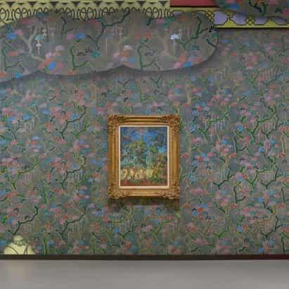 Laura Owens cubre la exposición de Vincent Van Gogh con un colorido papel pintado pintado a mano