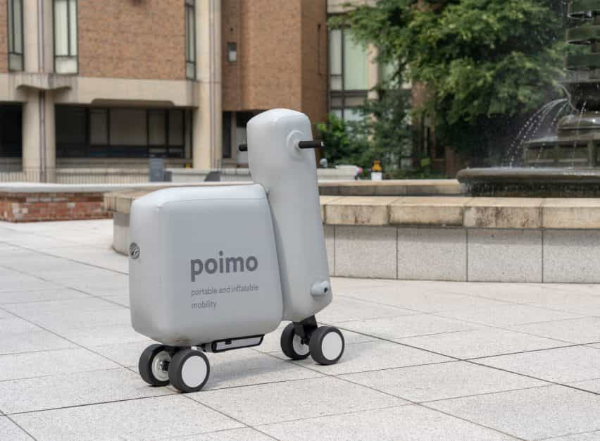 Poimo es un scooter eléctrico inflable que puede ser transportado dentro de una mochila