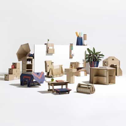 15 muebles de diseños realizados con cartón reutilizado revela en el Dezeen x Samsung Fuera de la lista Caja de Competencia