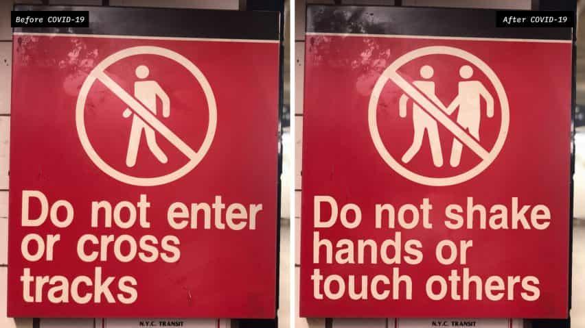NYC signos de distanciamiento social