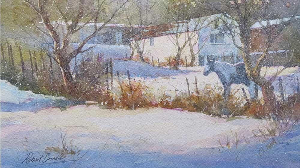 Cómo crear una pintura de nieve en acuarela