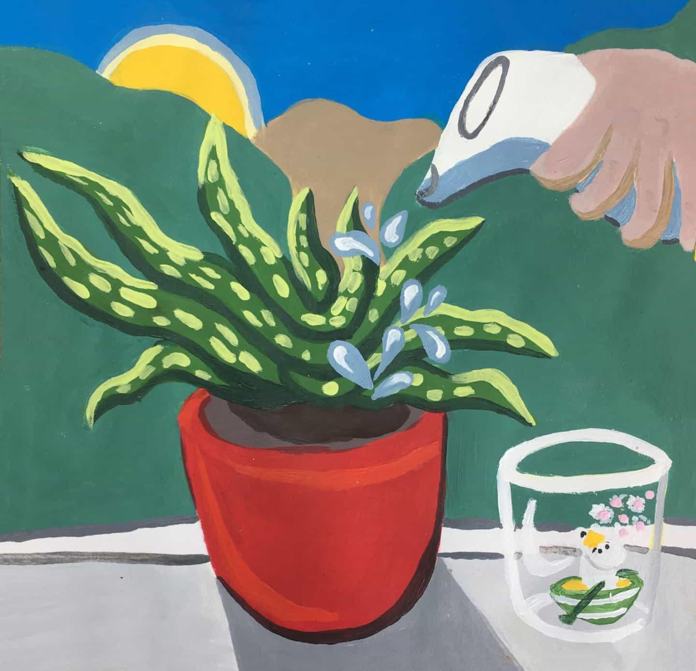 Rosie mayo: regar las plantas (Copyright © Rosie mayo, 2020)