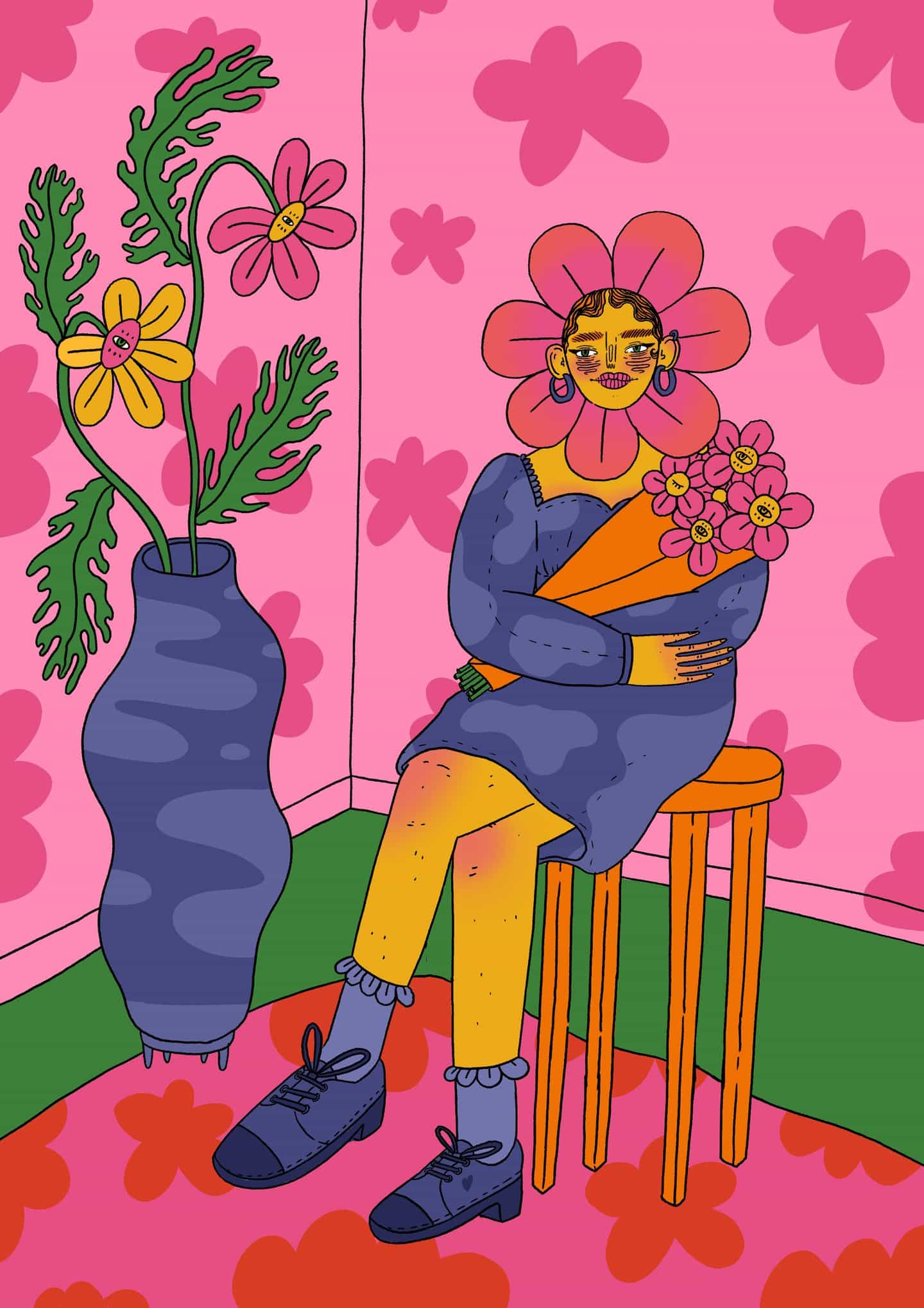 Ilustraciones de Doolittle (Eliza Williams): Cabeza de flor (Copyright © Doolittle Illustrations, enero de 2021)