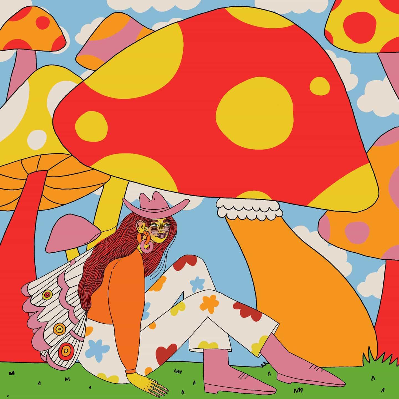Ilustraciones de Doolittle (Eliza Williams): Tomando un descanso debajo de un hongo (serie Mushroom Fairy) (Copyright © Doolittle Illustrations, mayo de 2021)