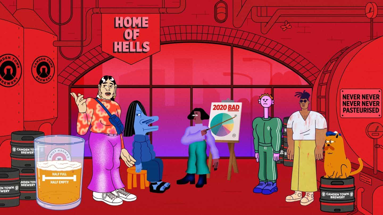 Un variopinto grupo de personajes animados regala cerveza gratis en Camden Town Brewery anuncio de W + K