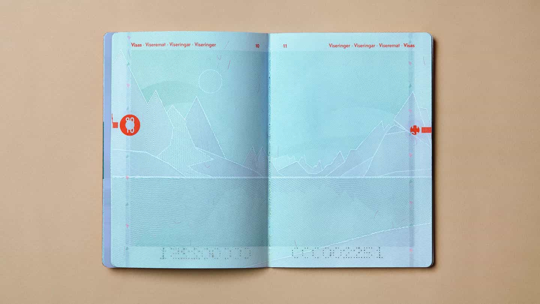 pasaporte noruego de Neue diseña ilustraciones característica del paisaje en cada página