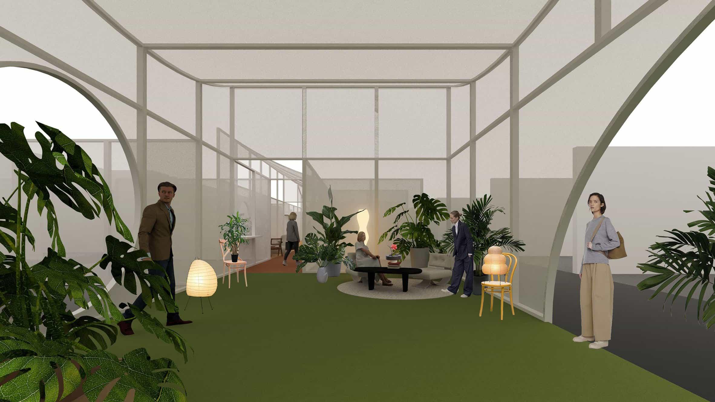 Render de la instalación Sustainable Hutong en Design China Beijing 2021