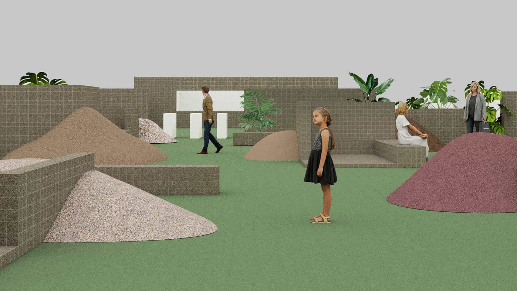 Render de la instalación Unfinished Garden en Design China Beijing 2021