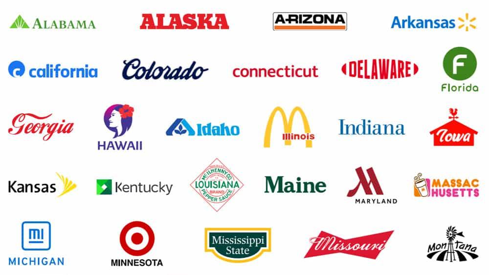 ¿Puedes identificar la marca más grande de cada estado de EE. UU. A partir de estos logotipos rediseñados?
