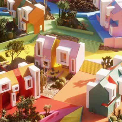 Visualizadores arquitectónicos imaginan el Sonora Art Village con los colores del arco iris durante la pandemia