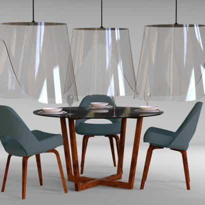 Christophe Gernigon diseños suspendido escudos para permitir que los comensales regresen a restaurantes