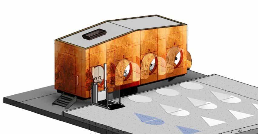 """M-Rad diseños de concepto unidad móvil Covid-19 prueba del """"virus de la destrucción"""" de cobre"""