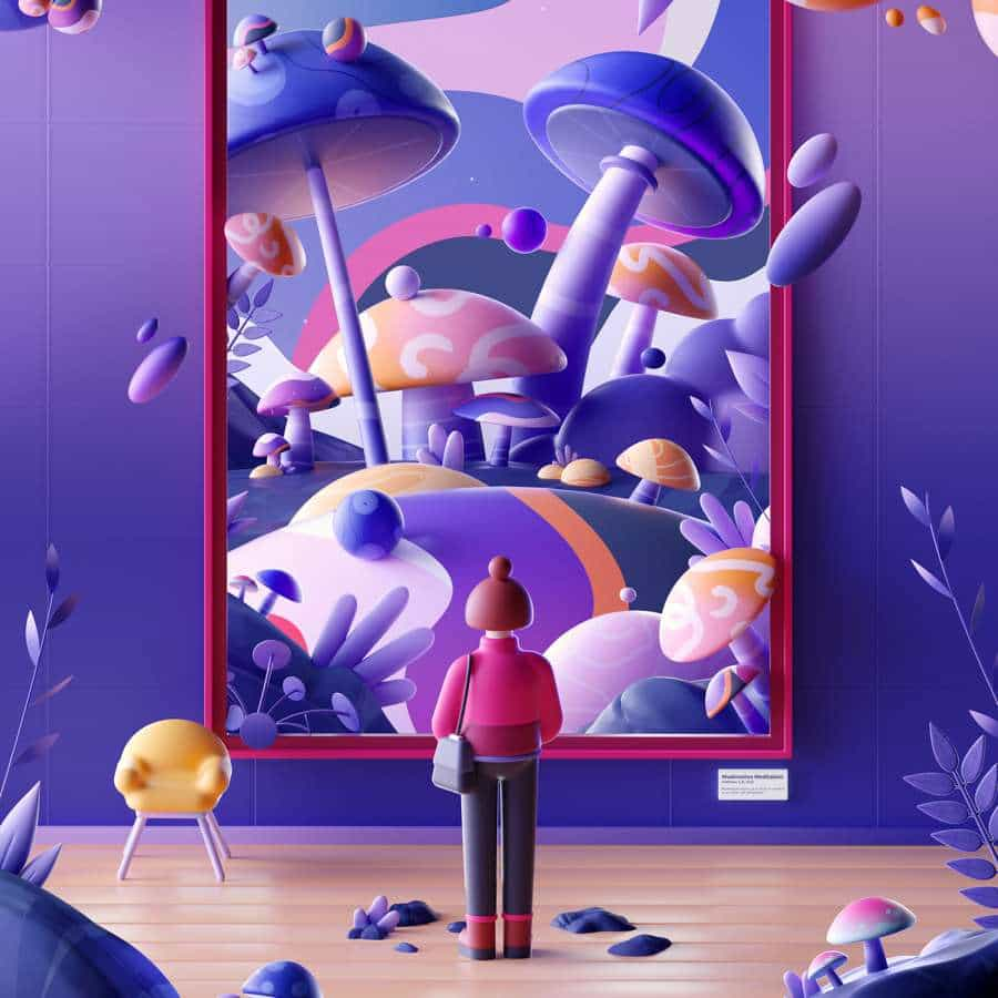 Ilustraciones abstractas en 3D de Mathieu Le Berre