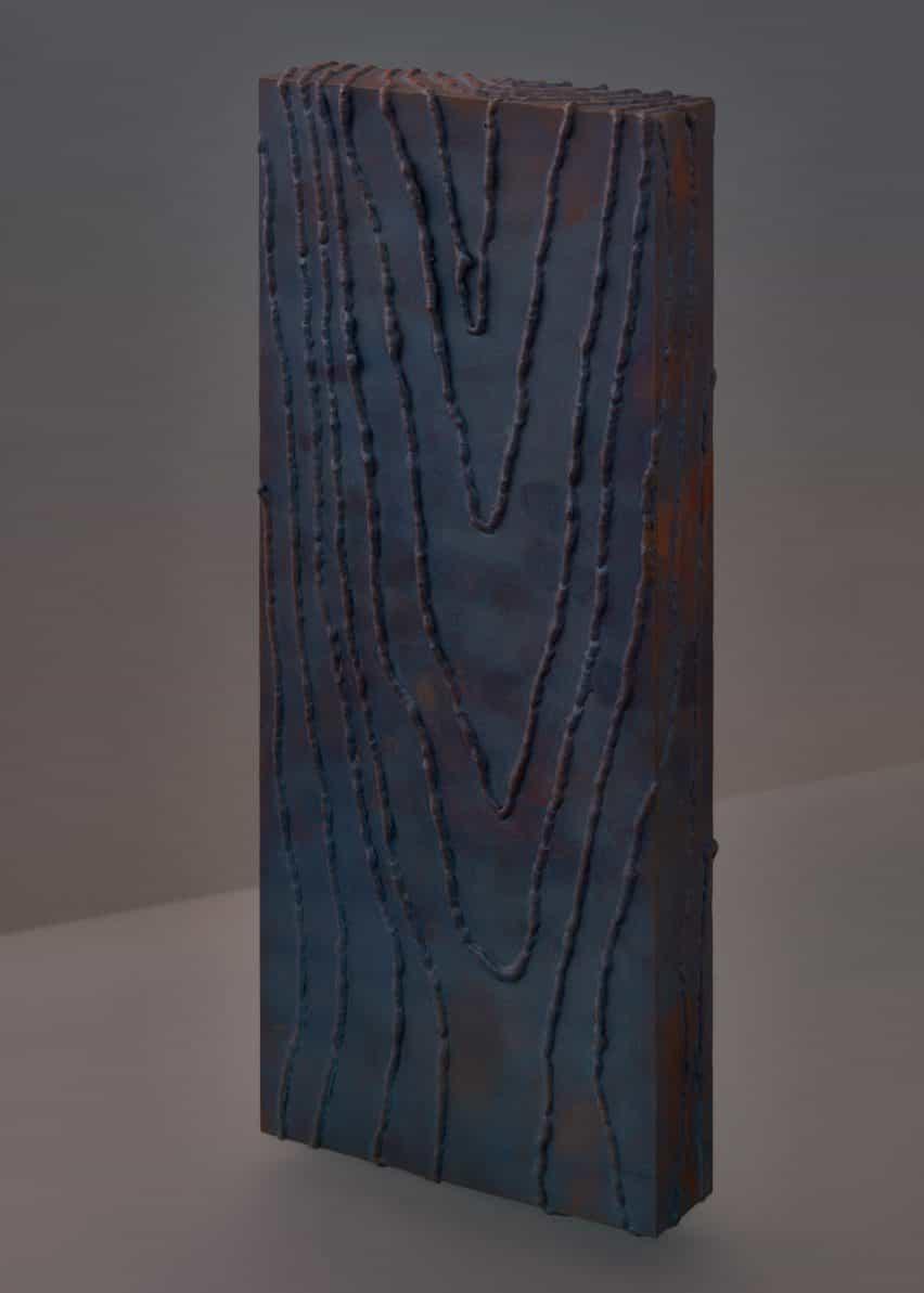 Muestra de material de acero oxidado para banco Carbon de Ward Wijnant