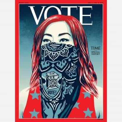 Seis diseños para fomentar la votación en 2020 elección presidencial de los Estados Unidos.