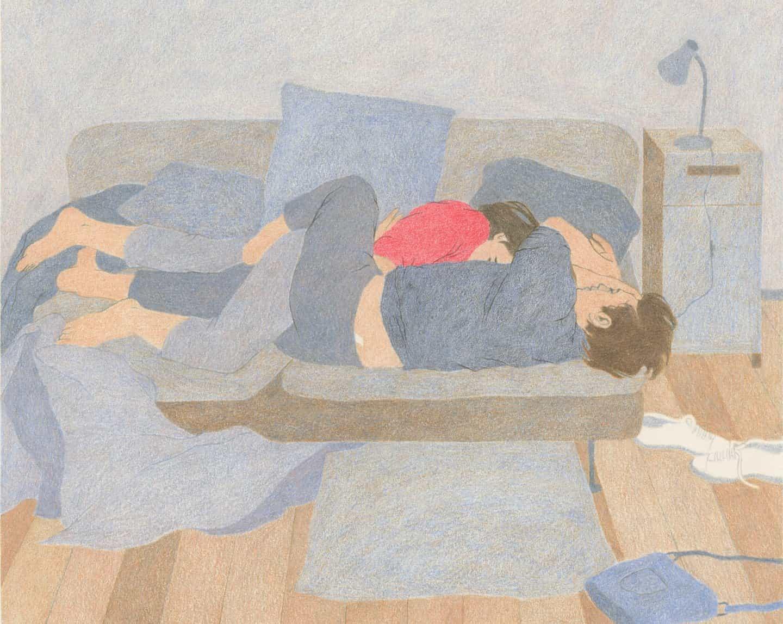 Camille Deschiens dibuja escenas suaves de amor, conexión e intimidad