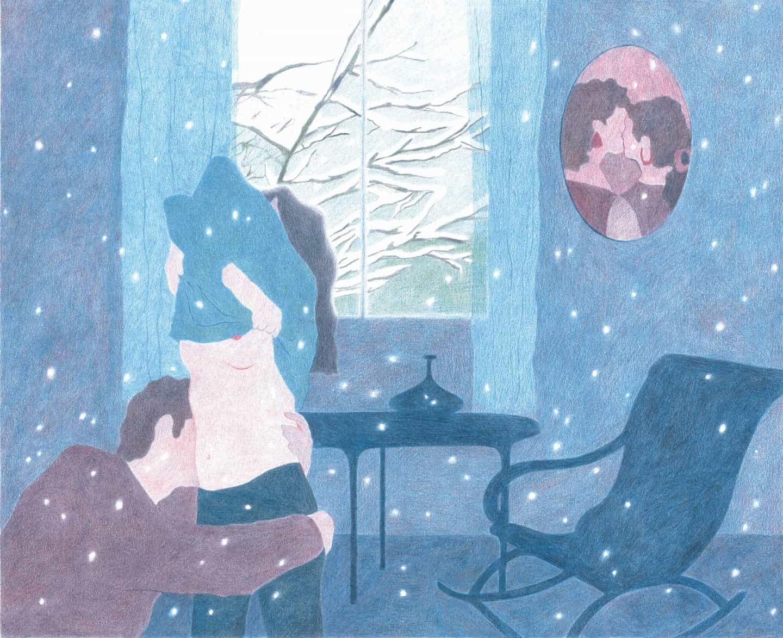 Camille Deschiens: Debajo de la nieve; imagen hecha para Graminées édition, lápices de colores (Copyright © Camille Deschiens, 2019)