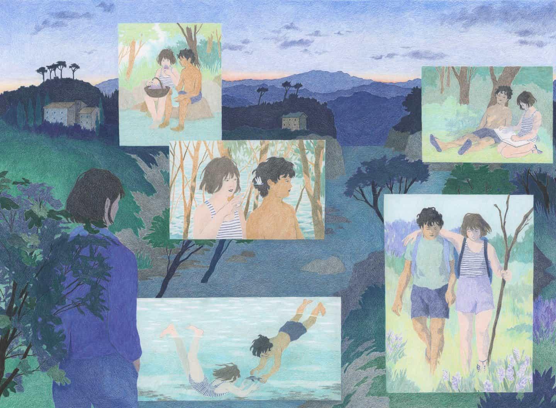 Camille Deschiens: Los veranos con Ismaël; imagen hecha para rompecabezas de Sulo, lápices de colores (Copyright © Camille Deschiens, 2020)