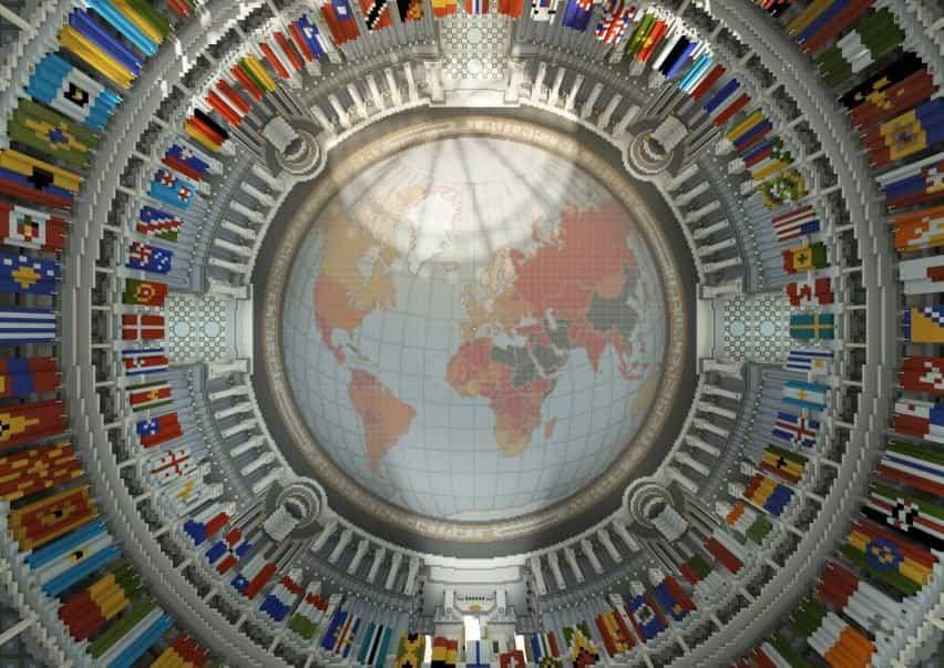 Un mapa de la tierra en el techo de una biblioteca virtual